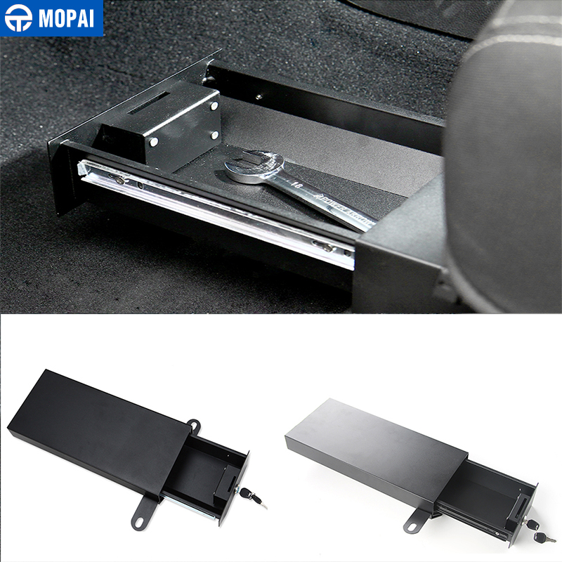 MOPAI Metal Car Interior Under Seats Lock Drawer Storage Box Security Box Kit For Jeep Wrangler 2011-2016 Car Styling