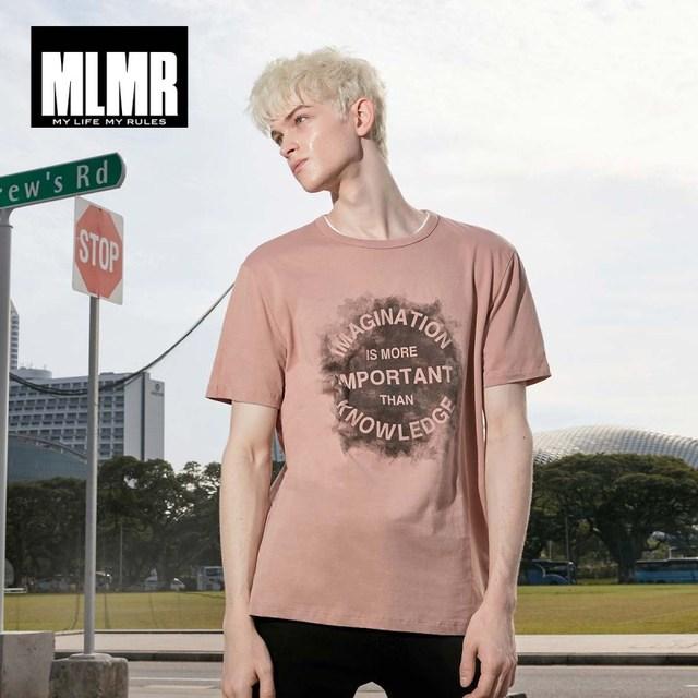 MLMR Men's Slim Fit Letter Printed T-shirt Crew Neck Tshirt Tee Top Men's Black&White T shirt JackJones 2019 New Brand 219101530