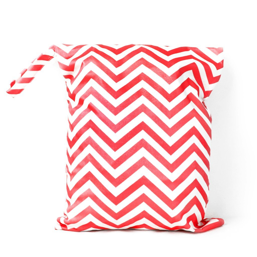 Reusable Washable Waterproof Zipper diapers bag for baby(Red and White)