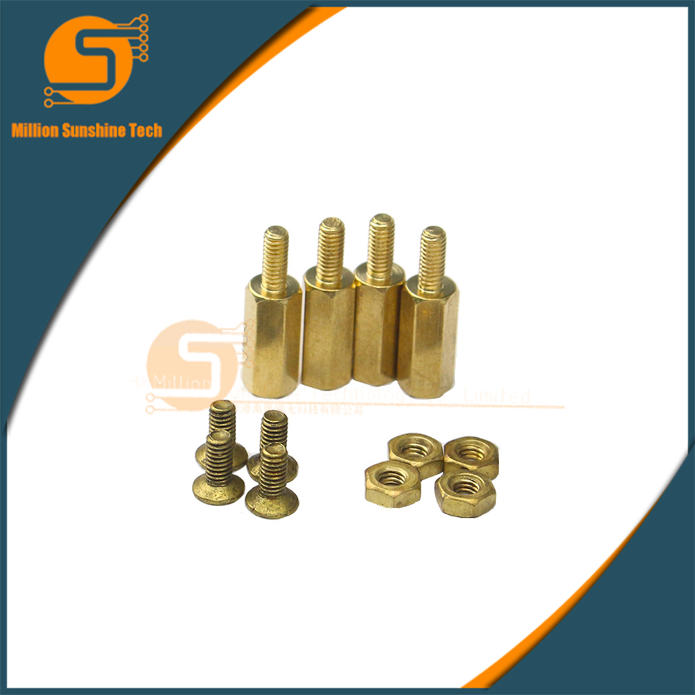 M2.5x11+6 Hex Standoff Spacer Male To Female Thread Screw To Nut Brass Pillars 4 Sets/bag For Raspberry Pi 2/3 & Banana Pi M2/M3