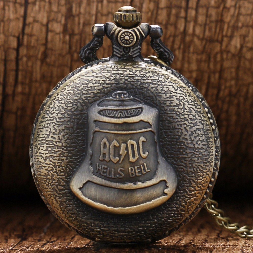 Antique Steampunk DAD Bronze ACDC Hells Bell Quartz Pocket Watch Pin Chain Fashion Necklace Pendant Retro Men Father's Day Gifts
