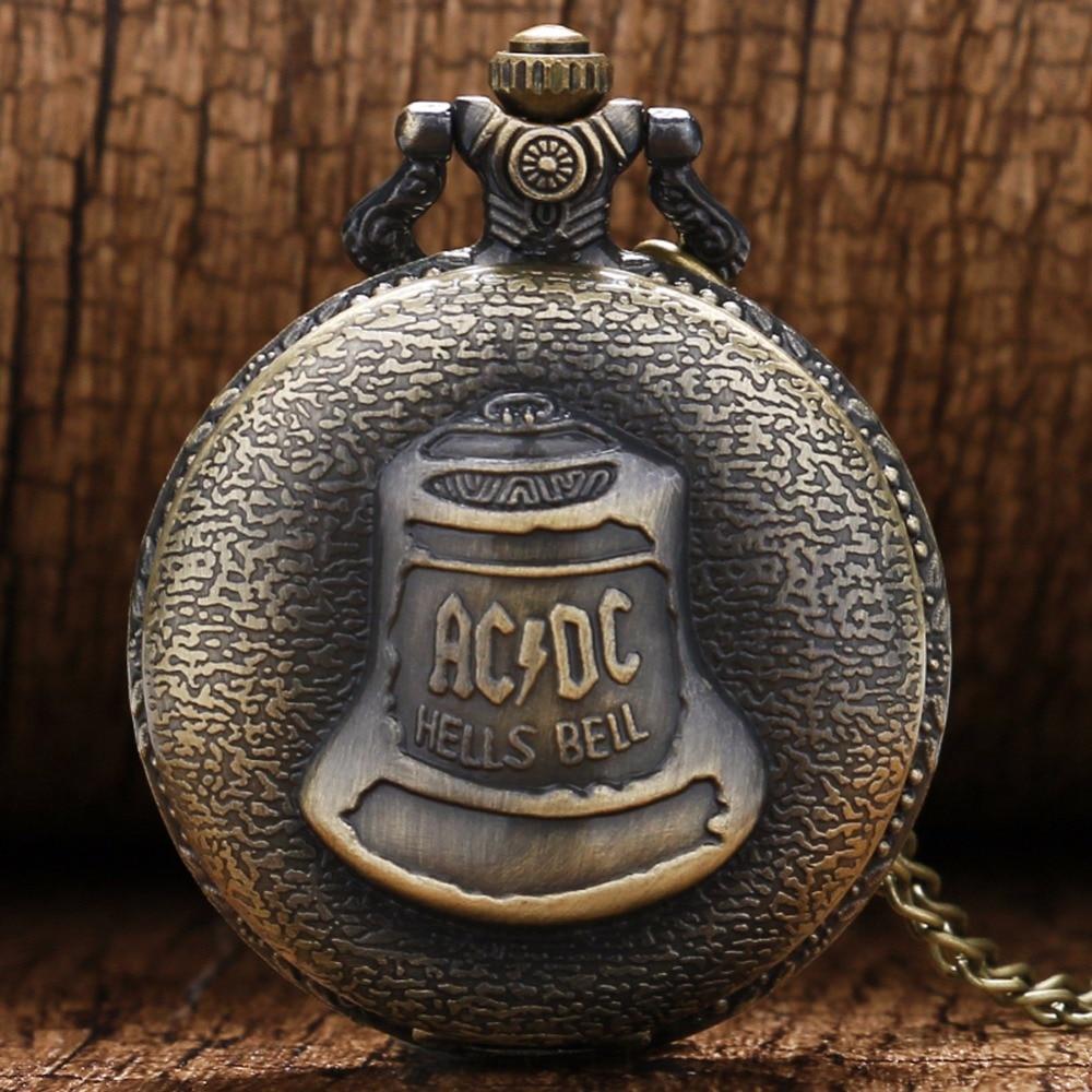 Antique Steampunk DAD Bronze ACDC Piekielne dzwonki Kieszonkowy zegarek kwarcowy Pin Chain Moda naszyjnik wisiorek Retro Mężczyźni na Dzień Ojca Prezenty