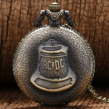 Antique Steampunk ACDC Hells Bell Quartz Pocket Watch Necklace Pendant Retro Men Women Xmas Gift antique roman numbers steampunk skeleton quartz pocket watch men luxury necklace pocket