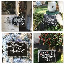METABLE 4Pcs Hanging Decorative Chalkboard Sign,Double-Sided Non Porous Wooden Note Message Board for Wedding Party Decoration,