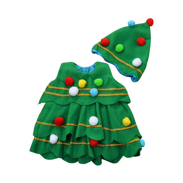 Toddler Christmas Tree Costume.Us 14 22 13 Off Baby Girl Boys Clothes Children Winter Xmas Clothing Set Toddler Kids Christmas Tree Costume Dress Tops Party Vest Hat Outfits In