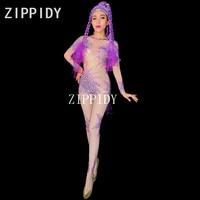 Colorful Glisten Rhinestones Jumpsuit Mesh Perspective Leggings Female Singer Dance Bodysuit Women's Party Celebrate Outfit