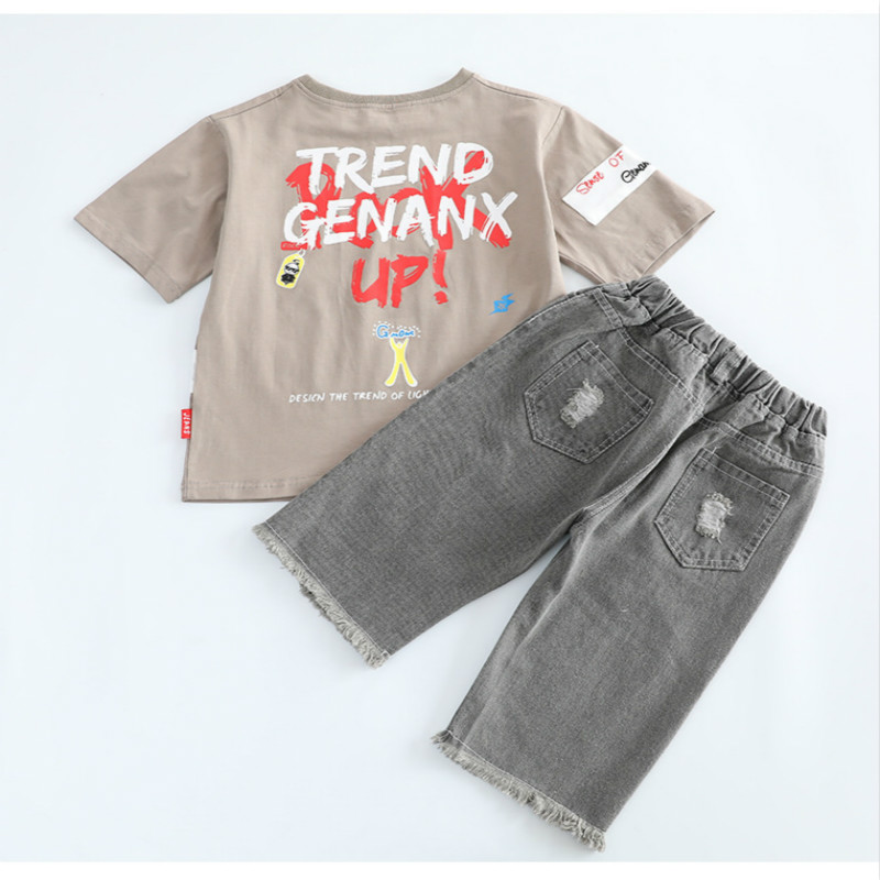 kids clothes Boys summer suit 2019 new casual boy suit round neck short sleeved T shirt hole denim short sleeved children sets in Clothing Sets from Mother Kids