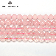 Free Shipping Natural Pink Quartz Ice Rose Crystal Round Loose Beads 4 6 8 10 12 MM DIY Bracelet&Necklace For Jewelry Making