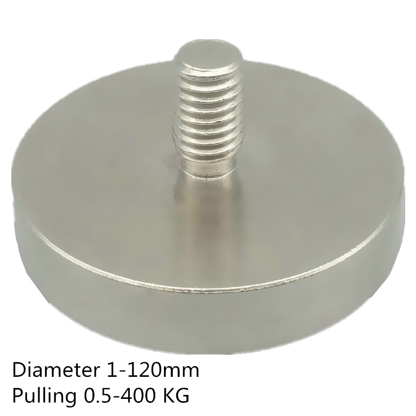 Up to 400KG Mounting Magnet Diameter 16-120mm Lathed Pot Magnet  Male Thread Neodymium Lifting Magnet Strong Holding MagnetUp to 400KG Mounting Magnet Diameter 16-120mm Lathed Pot Magnet  Male Thread Neodymium Lifting Magnet Strong Holding Magnet