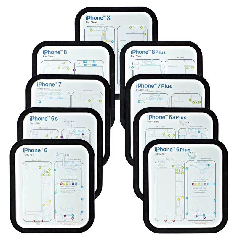 12 pc almofada de guia profissional para o iphone xsmax xs x 8 p 8 7 7 6s 6 6p 6sp magnético parafuso keeper carta esteira ferramentas reparo do telefone