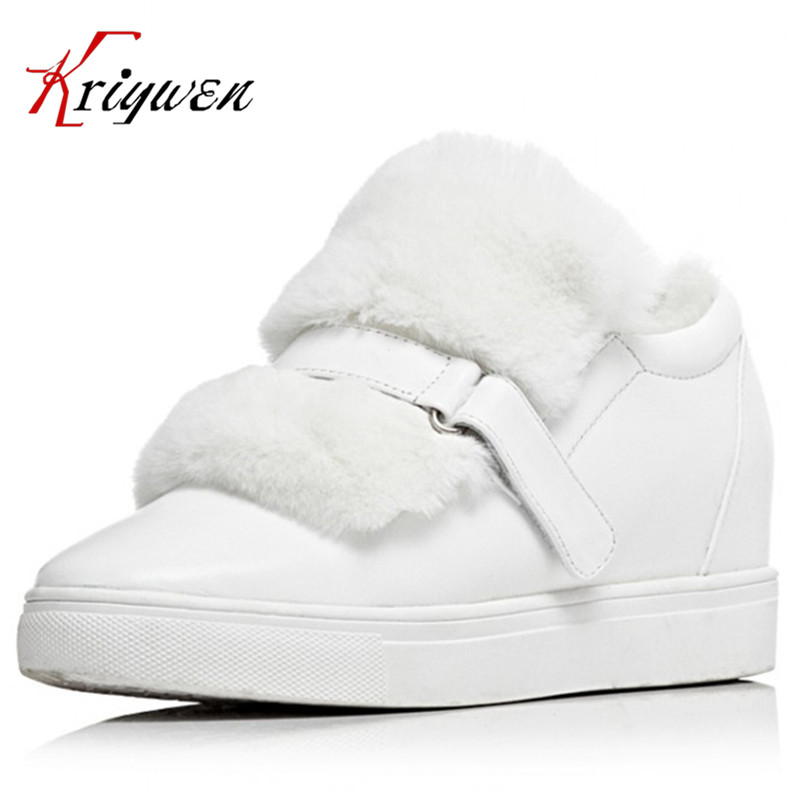 High quality brand designer fur genuine leather wool full grain leather Height Increasing shoes for women snow boots keep warm цена и фото