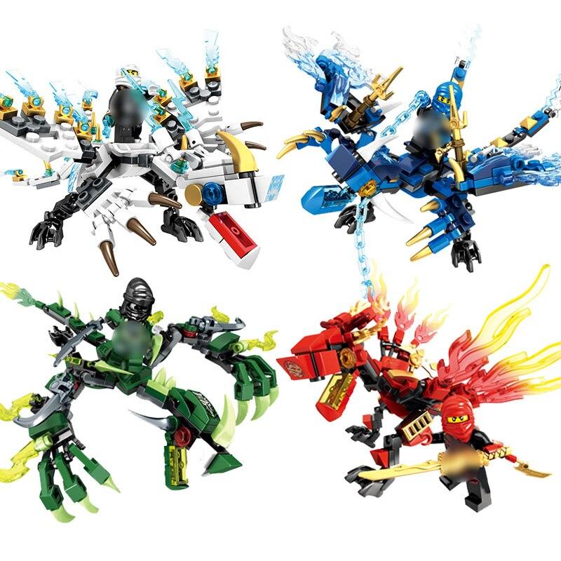 Zxz 6pcs Ninja Dragon Knight Building Blocks Enlighten Toy For Children Compatible Legoes Ninjagoed Diy Bricks For Boy Friends Model Building