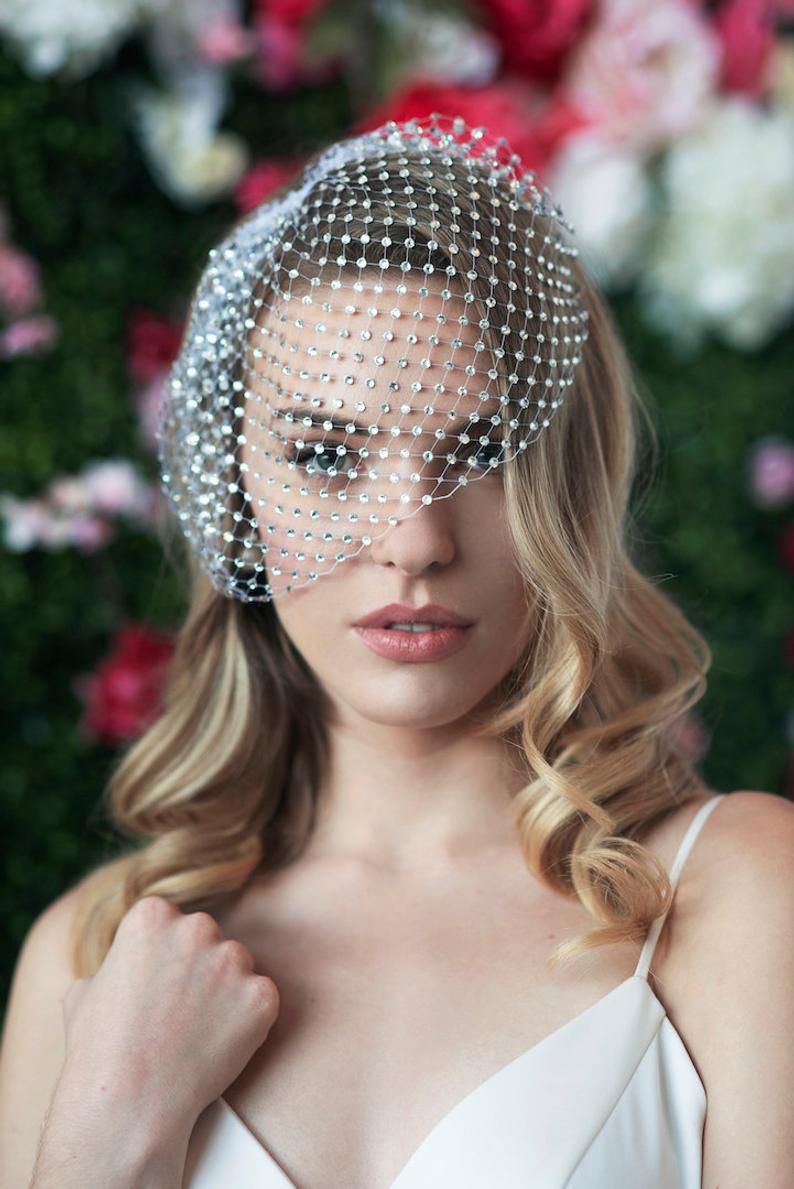 Bridal Birdcage Veil  Blusher Veil , Bridal Rhinestone Bandeau Birdcage Veil Wedding Accesory