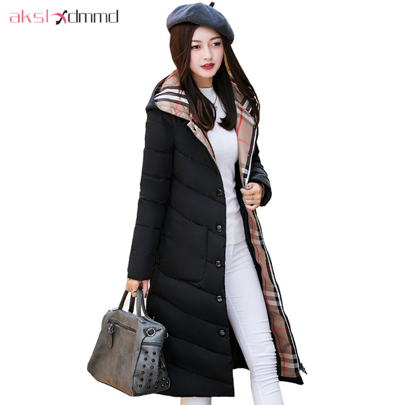 AKSLXDMMD Parkas Casual Hooded Slim Winter Long Jacket Women 2017 New Plus Size Fashion Single-breasted Thick Cotton Coat LH1222 akslxdmmd parkas mujer plus size winter coats 2017 new thick padded cotton printed letters hooded winter women jacket lh1114