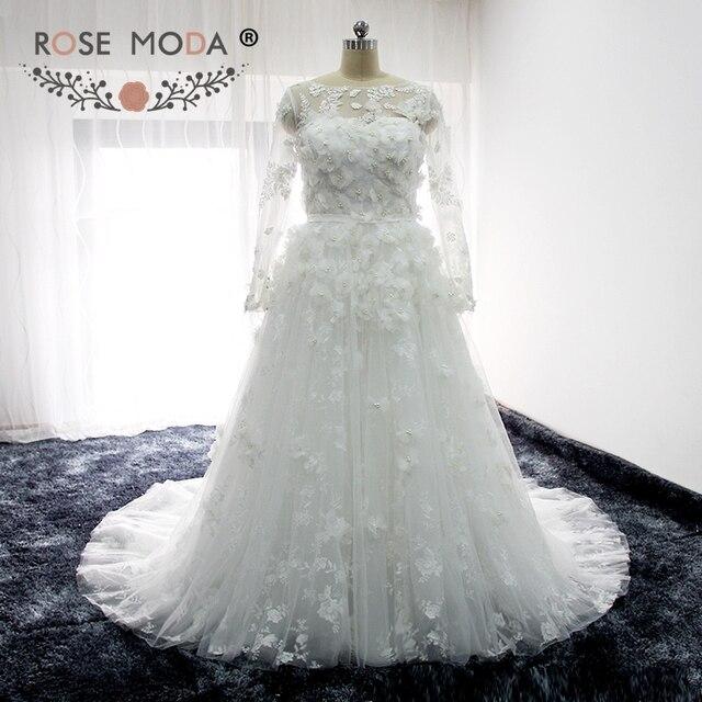 Rose Moda Illusion Langen Ärmeln Spitze Hochzeitskleid mit 3D Blumen ...