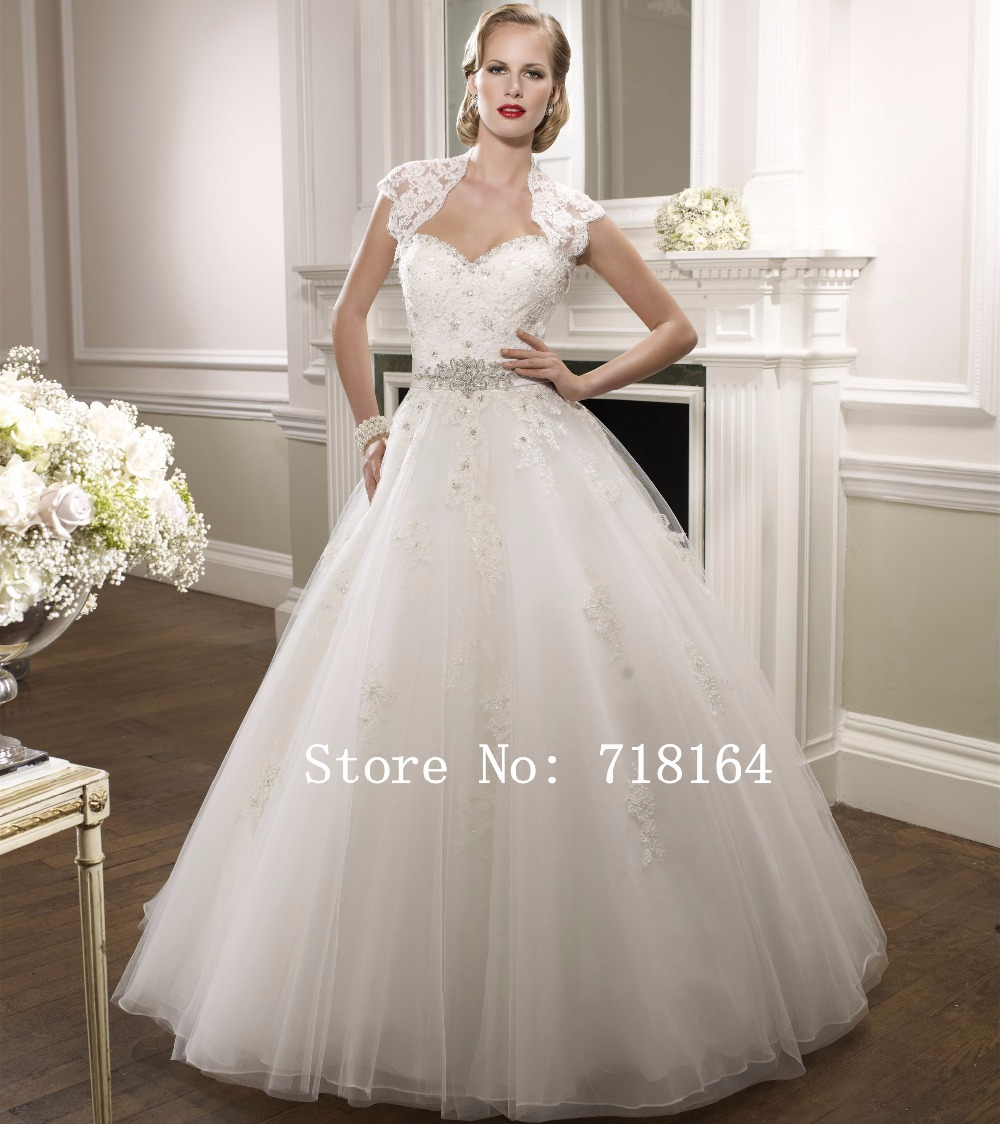 Romantic Ball Gown Lace Wedding Dress With Jacket Modest