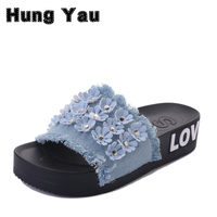 Women Summer Beach Sandals Fur Balls Floral Design Slippers Ladies Slippers Denim Sandals Badges Crystal Shell