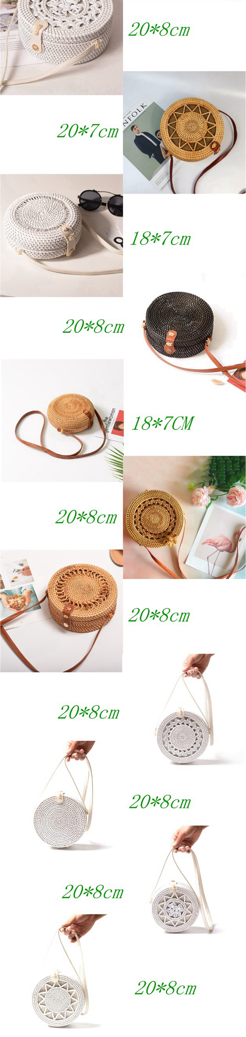 Bali Vintage Handmade Crossbody Leather Bag Round Beach Bag Girls Circle Rattan bag Small Bohemian Shoulder bag 10