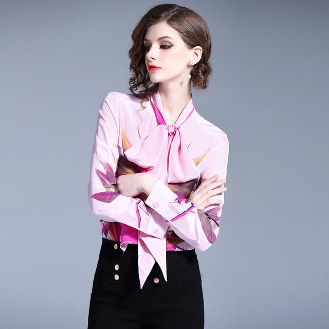 Runway Designer 2019 Women Summer Long Sleeve Bird Print Chiffon Blouse And Tops Lace Up Bow Tie V Neck Blusas Ladies Pink Shirt