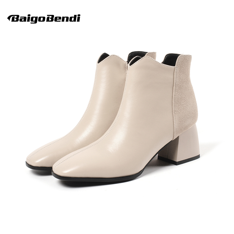 Woman Big Size 41 42 43 Thick Heel Ankle Boots Full Grain Leather Casual Thick Heel Chelsea Boots Ladies Winter Boots US 4-11