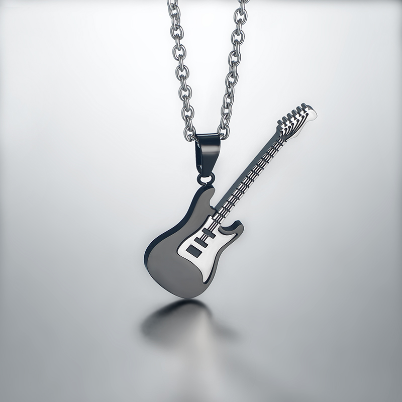 Guitar Necklace & Pendant Stainless Steel Music Jewelry DSC_6221