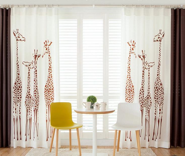 Linen Cloth Printing Curtain Cartoon Giraffe Large Pattern Half Shading Living Room Children Bedroom Fabric Curtain