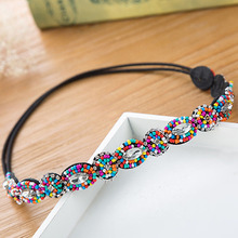 Women Hair Accessory Hot Colorful Rhinestone Flower Hoop Headband Hairband for Girls Bohemian Elastic Band