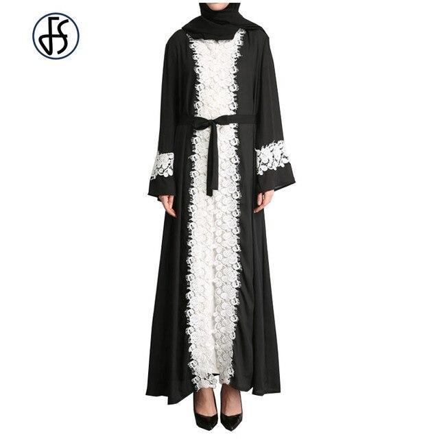 2eb15345f26d FS Muslim White Embroidery Lace Patchwork Black Chiffon Abayas Cardigan For  Women Islamic Dress Summer Clothing Maxi Robe