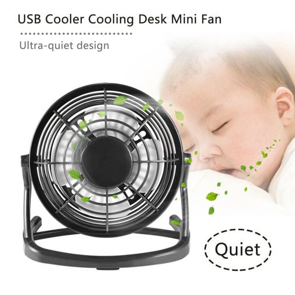 Portable USB Mini Fans Small Desk 4 Blades Cooler Cooling Fan DC 5V Operation Super Mute Silent PC Laptop Notebook