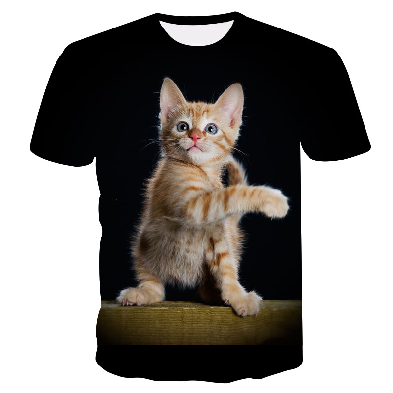 Printed kitten T-shirt harajuku two cat t-shirts summer casual T-shirt top of the line for both men and women T-shirt