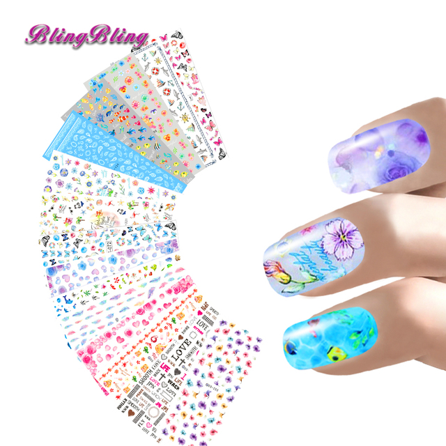 15 sheets Nail Sticker Harajuku Water Transfer Sticker Butterfly Flower  Feather Mix Design Nail Art Wraps 207e4b11b79e
