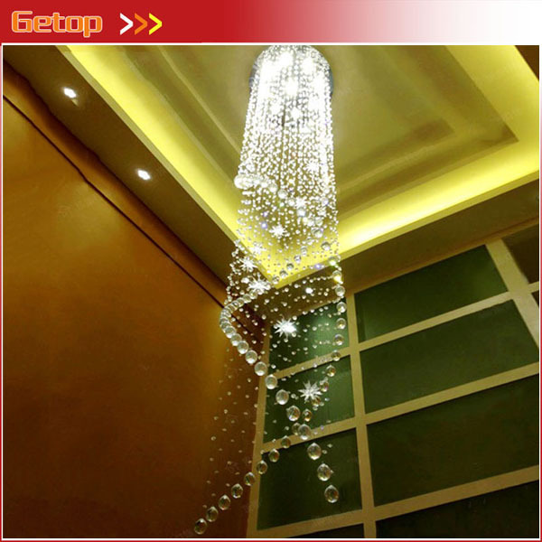 Best Price Luxury Lustre Ceiling LED Lamp Luster Spiral Stairs Lights K9 Crystal Chandeliers with GU10 LED Bulb Free Shipping best price modern led spherical k9 crystal lamp duplex stairs luxury villa round ball crystal pendant lights project lights