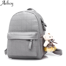 Aelicy 2019 Fashion Women Bear Doll Pendant Sweet Lady Backpack Travel Packet Leather Shou
