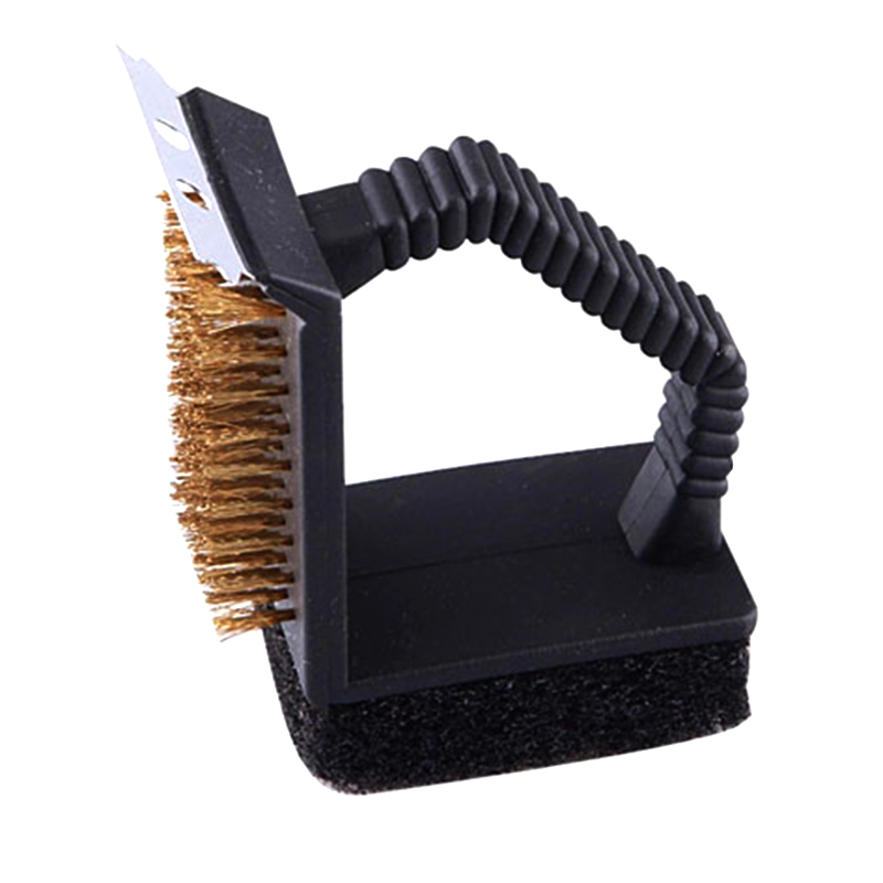 BBQ Accessories Triple Barbecue Grill Brush Copper Steel Cleaning Brushes Barbeque Cleaner Barbacue Kitchen Accessory