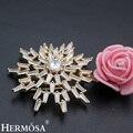 Hermosa últimas venta mostrar brillante del copo de nieve diseño hot party mujeres AAA REGALO Blanco CZ Oro Rosa Broche de Novia de La Boda joyería