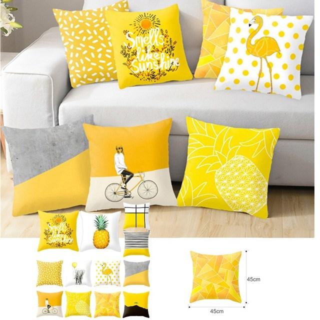 2019 Polyester Geometric Cushion Yellow Pineapple Pillow Decorative Cushion For Sofa Diy Printed Pillow Seat Chair Cushion