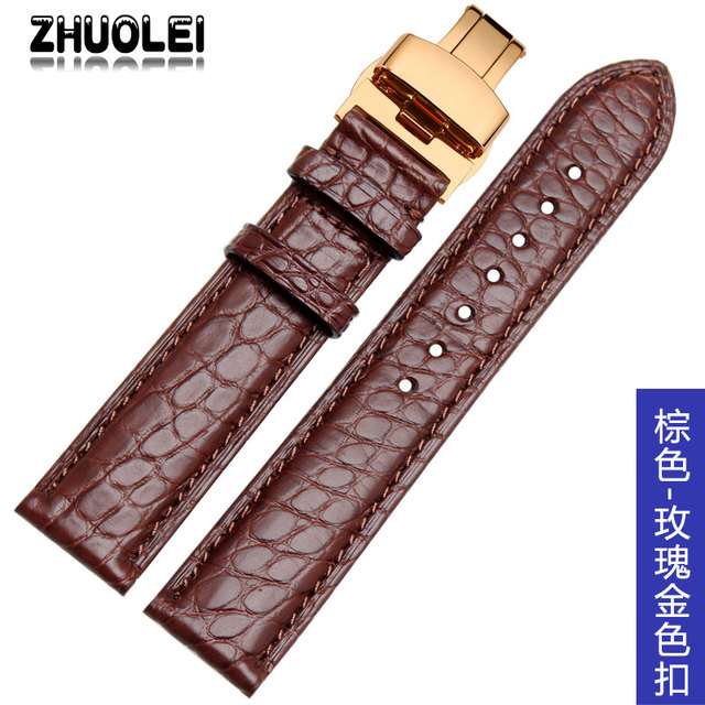 Quality Alligator Skin Genuine Leather Mens Watch Band 16mm 18mm 19mm 20mm 21mm 22mm black brown Watch Accessories | Watchbands