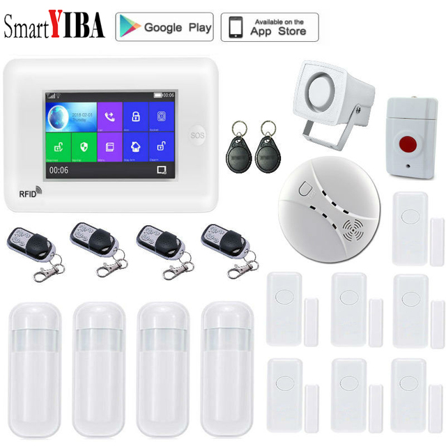 Special Price SmartYIBA APP Control Touch Screen 4.3 Inch Wifi GSM Wireless Home Security Alarm System Video IP Camera Compatible With Alexa