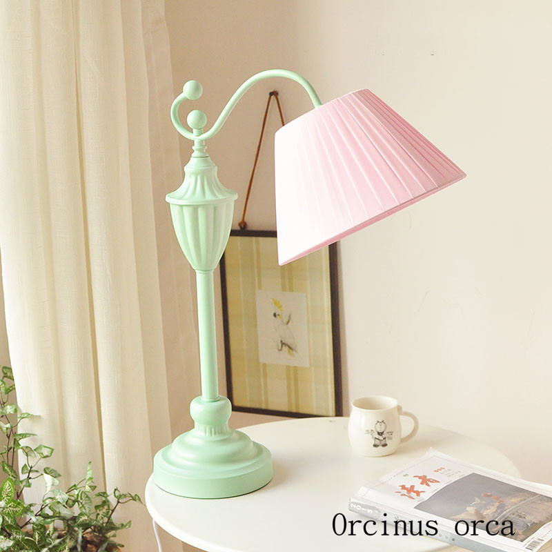 US $108.0 |American Pastoral creative cloth lamp girls bedroom bedside lamp  Korean dream warm green decoration desk lamp free shipping-in LED Table ...