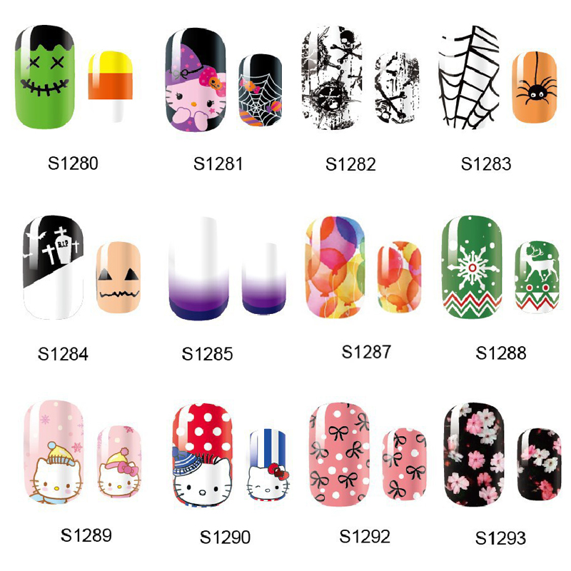 NEW 14 Tips NAIL Art Full Cover Self Adhesive Stickers Polish Foils Tips Wrap Halloween Christmas Xmas Kitty Decal Manicure 138designs hot nail art stickers 100sheet adhesive nail tips polish decals wrap patch finger nail manicure decoration tools