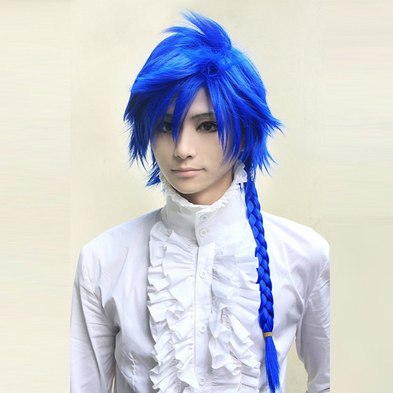 Vocaloid Kaito Straight Blue Braid Synthetic Hair Cospaly Wig + Wig Cap