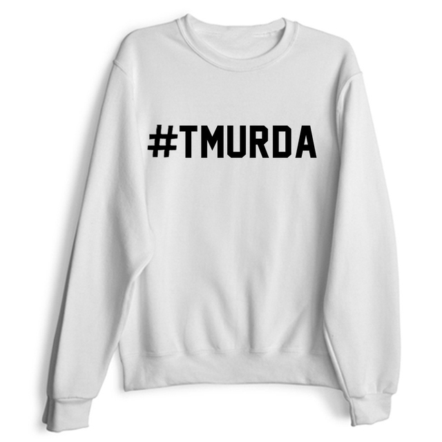 TMURDA Black White Grey Crewneck Sweatshirts Funny Fake Long Sleeve  Hoodies Women Men Unisex Tops Outerwear Jumper 87891a0f59
