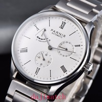 Parnis men's watch 42mm Silver case DATE Power reserve White dial 5ATM ST1780 Automatic movement wrist watch
