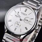 ✔  Parnis мужские часы 42mm Серебряный корпус DATE Запас хода Белый циферблат 5ATM ST1780 Автоматически ✔