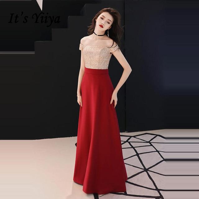 It s YiiYa Evening Dress 2018 Wine Red Cold Sequin Patchwork Boat Neck Floor -length Elegant Dinner Gowns SB014 robe de soiree ca1683d20683