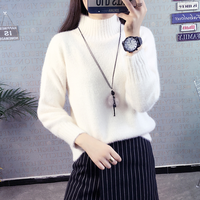 Hot Autumn Winter Women Mock Neck Casual Bottoming Sweaters Loose Pullover Woolen Sweater Preppy Style Female Fashion Jumper
