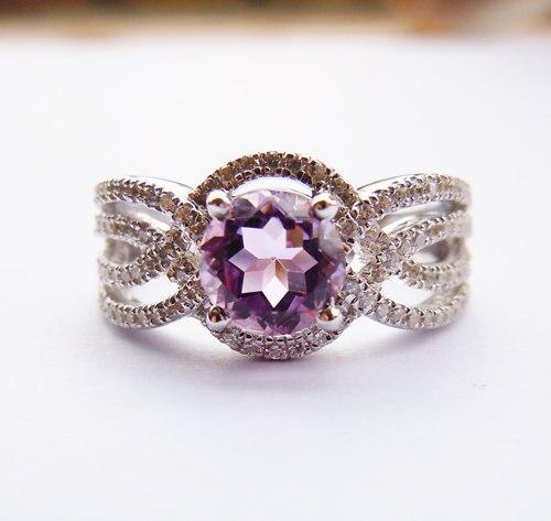 Ladies Solid Sterling SilverAmethyst Engagement Wedding RingLadies Solid Sterling SilverAmethyst Engagement Wedding Ring