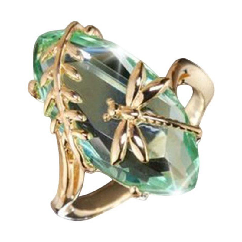 New Arrival Creative Dragonfly Green <font><b>Ring</b></font> For Women Jewelry Olive Green Stone <font><b>Rings</b></font> Cubic Zircon <font><b>Rings</b></font>