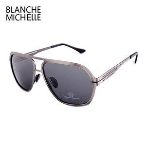 Image 4 - Blanche Michelle 2019 Yüksek Kalite Paslanmaz Çelik Polarize güneş gözlüğü Erkekler UV400 Kare güneş gözlüğü lunette soleil homme