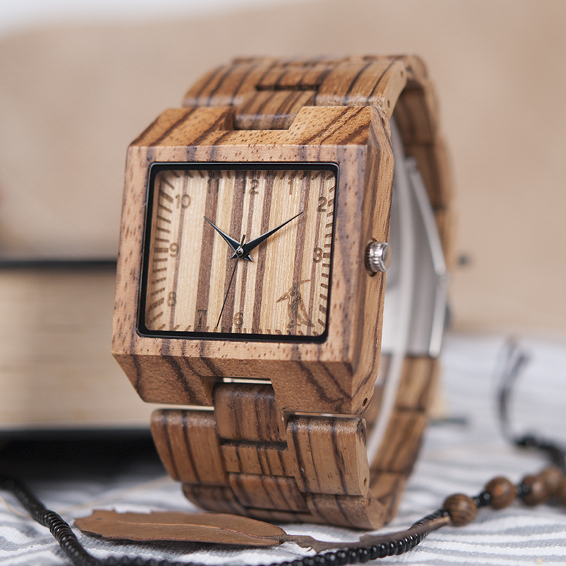 BOBO BIRD L24 Square Zebra Wood Bamboo Men's Top Quartz Casual Brand Watch relogio masculino With Leather Strap For Gift bobo bird c16 womens leather strap zebra wooden watches ladies brand deginer top quartz wood watch in gift box for dropshipping